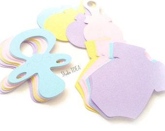 "Mixed Pastel Colors 4"" Baby Pacifier, Onesie & Rattle Cut outs, Embellishments - Set of  60pcs, 120pcs"