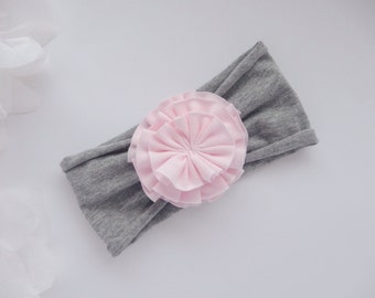 Flower baby headband, baby girl headband, flower headband, shabby flower, newborn headband, pink flower headband, turban headband