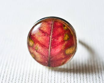 Real leaf resin ring