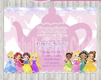 50% Off Princess Tea Party Invitation-All Princesses-Princess Birthday, Tea party princess, Tea Princess, Tea Birthday, Party girl, Tea part