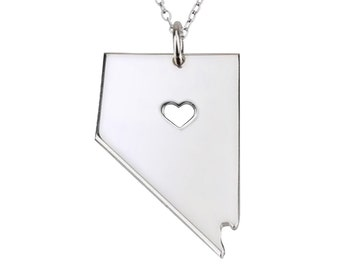 Silver NV State Necklace,Nevada  State Necklace,State Shaped Necklace,Nevada  Pendant,Name Engraved,Map Necklace With A Heart