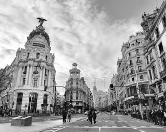 Madrid Photography, Gran Via, Wall Art, Spain Print, Metropolis, Black and White, Wall Art, Street, Europe, Travel Decor, Architecture