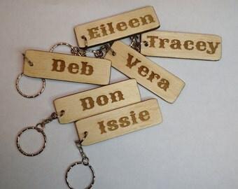 Birch ply,laser engraved personalised key rings