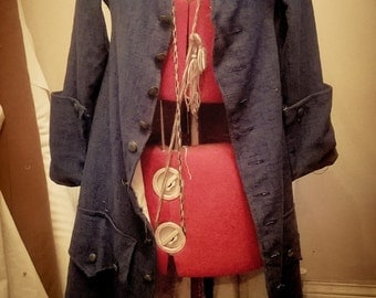 Early 18th century linen Pirate frock coat for reenactment and Larp