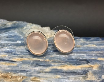 Rose Quartz Stud Earrings // 925 Sterling Silver // Oval Setting // Post Backing