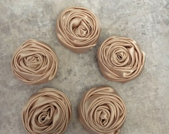 2 inch champagne rosette, champgne satin flowers, headband supplies, roses, headband flowers, wedding flowers, silk flowers, rolled flowers,