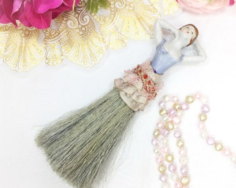 Vintage Lady Japan Porcelain Wisk Broom, Porcelain Dress Broom, Vanity Broom, Lady Brush #A685