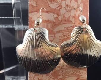 Sterling Silver Scallop Earrings