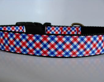 Patriotic Dog Collar - Red White and Blue Plaid - READY TO SHIP!