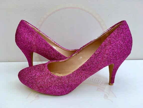 Hot Pink Glitter Shoes Fuschia Glitter Mid Heel Bridal