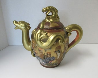 Vintage Japanese Gold Dragon Teapot /  Satsuma Shimazu Asian Decor Oriental Dragon Teapot