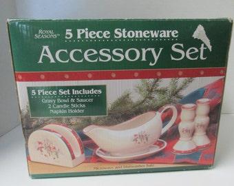 Royal Seasons Snowman Stoneware 5 Piece Set Gravy Boat and Saucer Candlestick Holders Napkin Holder Christmas Holidays