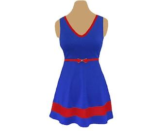Red + Blue Skater Dress