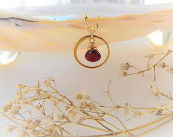 Garnet Necklace - Garnet Pendant - Gemstone Choker - January Birthstone - January Birthday - Gifts for her