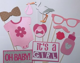 Baby Girl Shower Props Photo Booth Prop Set