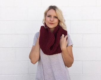 Crocheted / Knit Oversized Chunky Cowl Scarf - Red -  Made to Order
