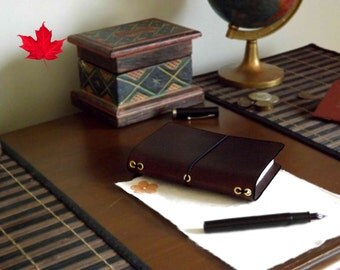 Leather Passport size - Midori Travelers Notebook - Fauxdori - planner - diary