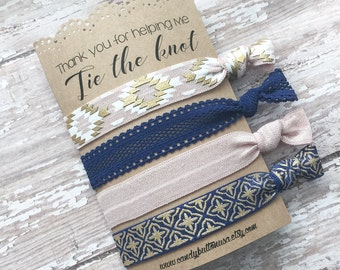 Navy Blush Hairties Favor, Thank You For Helping Me Tie The Knot, Bridesmaid Hairties, Bridesmaid Gift Ideas, Navy Bridal Hair Ties