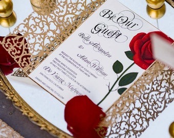 Beauty and the Beast invitation/Red rose invitation card/Quinceanera invitation /Wedding invitation/Bat mitzvah invitation/Sweet 16
