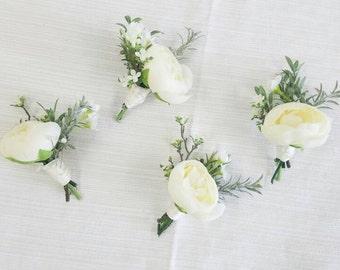 Boutonniere, Succulent Boutonniere, Rustic Boutonniere, Silk Flower Boutonniere, Flower Boutonniere, Wedding Boutonniere, Silk Flowers