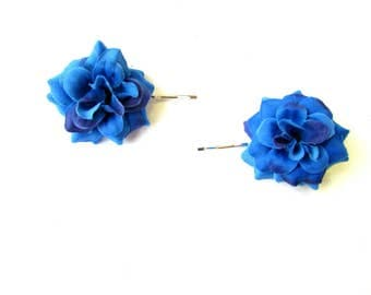 2 x Blue Rose Flower Hair Grips Clips Bridesmaid Bobby Pins Slides 1950s 2124