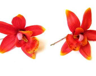2 x Red Cattleya Orchid Flower Hair Grips Clips Bobby Pins Slides Hawaii 2139
