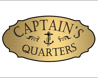 Captain's Quarters Nautical Door Sign - FREE SHIPPING
