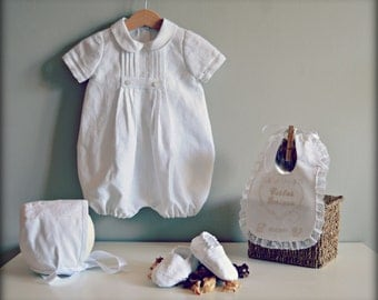 Baby Romper Mod- JOAN.(Nb to 2T).Christening Gown.Linen.Custom your OWN outfit.Naming Ceremony.Baptism.Dedication.Blessing.Heirloom.Wedding.
