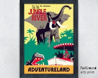 Disney Vintage Print, Jungle River Poster, Disneyland Poster, Adventureland, Home Decor, Wall Decor, Office Decor, Unique Gifts, Frame -29pg