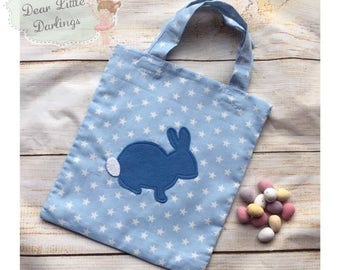 Blue Easter Bag, Easter Bunny Bag, Easter Egg Hunt, Easter Tote Bag, Easter Basket, Easter Gift, Tote Bag