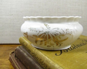 Small White Porcelain Dish - Gold Accent - Leaf Pattern