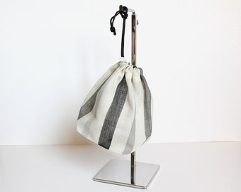 Black Gray White Stripe Organza Drawstring Pouch Bag
