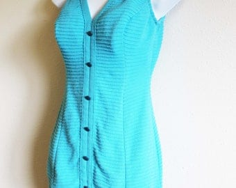 1950's Swimsuit RARE aqua blue knit Robby Len Fashions pin up one piece bathing suit M/L 16/38 rockabilly classic scoop back tank buttons