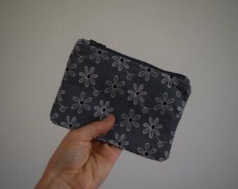 Grey floral cotton purse, coin wallet, mimco pouch size, pencil case