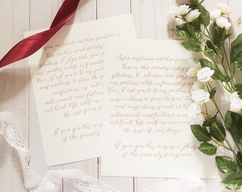 His and Her Wedding Vows | Calligraphy Wedding Vows | Custom Wedding Vows | Wedding Vow keepsake | Wedding Vow wall art