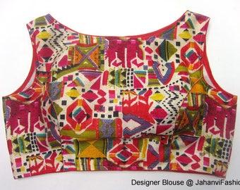 Multicolor readymade bhagalpuri print  Boat Neck bloiuse, available in all sizes - Sari Blouse - Saree Top - Sari Top - For Women