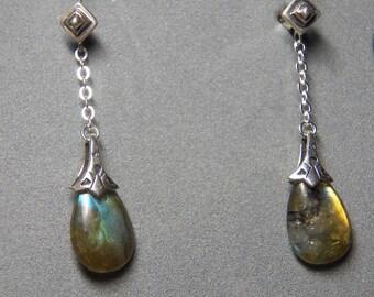 Labradorite Teardrop Gemstone Earrings with Sterling Silver