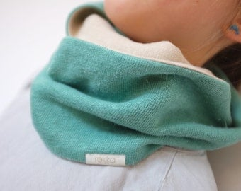 Hemp kids infinity scarf FREE SHIPPING, Two sided loop scarf, Organic kids scarf, Teal