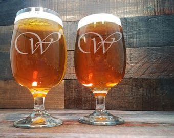Personalized Beer Glasses / Groomsmen Gifts / Custom Beer Glass / Beer Goblet / Best Man Gift / Wedding Glasses / Wedding Gift / Engraved