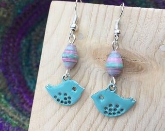 Bird Earrings, Turquoise Enamel Earrings, Turquoise Earrings, Silver Earrings, Cute Earrings, Bird Jewellery, Drop Earrings, Silver Plated