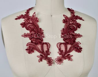 Pair Currant Burgundy/ Wine Beaded Lace Applique. Chiffon Background. Alencon Elements and Sequin Adornments