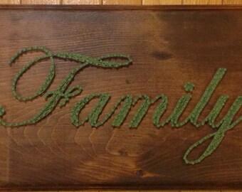 """NEW PRICE: Family String Art, Family Wall Decor, Wall Decor - """"Family"""""""