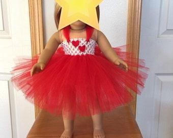 "Red & White 18"" Doll Tutu/Valentine's Tutu/Doll Tutu"