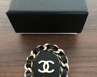 Chanel Leather Pin Brooch