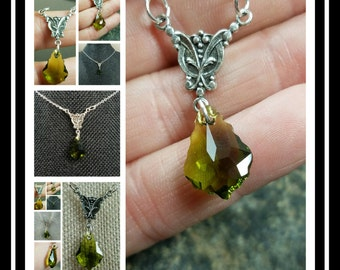 Olivine Baroque Swarovski Crystal Antique Silver Pendant Necklace