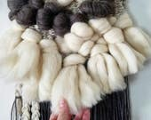 "Weaving, woven wall hanging, Mid Century decor, macrame wall hanging, fiber art ""Wooley"""