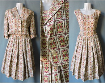 True vintage 1950s dress and Blazer pattern   Size S   Late 1950s two piece set colourful print. Full dress & jacket