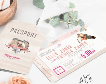 Destination Passport and Boarding Pass with RSVP Wedding Invitation 2016