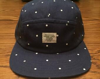 10 Deep Blue With White Polka Dot Navigator Strap Back Hat