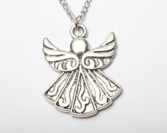 Antique Silver Angel Necklace,Lovely Necklace, Boho Jewelry,Angel Pendent Necklace,Fashion Jewelry,Guatdian Angel Pendant,Angel Wings